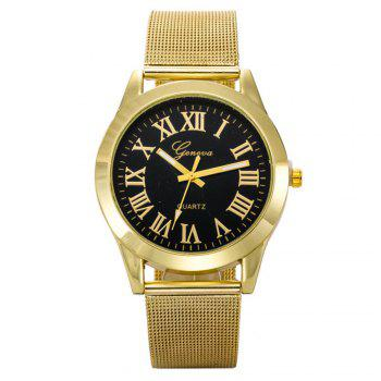 Geneva Fashion Men Golden Stainless Steel Rome Number Watch - BLACK BLACK