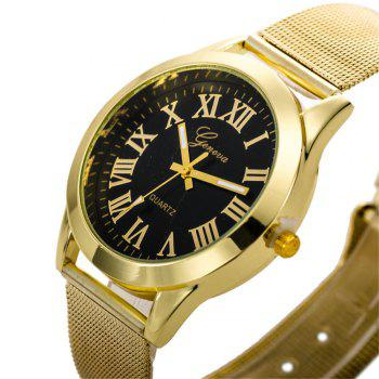 Geneva Fashion Men Golden Stainless Steel Rome Number Watch - BLACK
