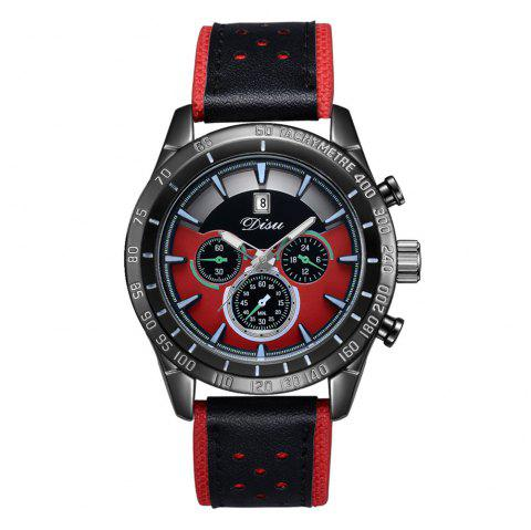 Disu Popular Fashion Watches Men's Casual Sport Quartz Watch - RED