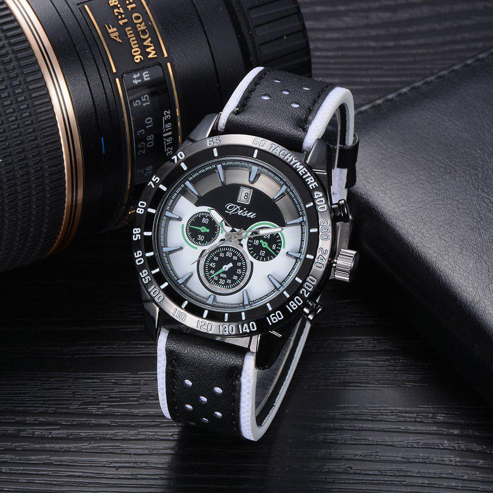 Disu Popular Fashion Watches Men's Casual Sport Quartz Watch - WHITE/BLACK