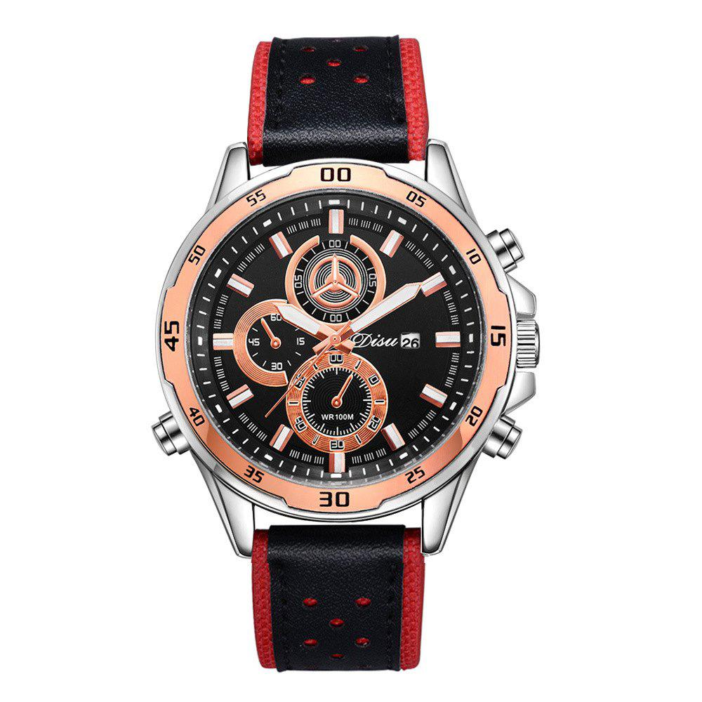 Disu Fashion Business Double Dial Sport quartz Watch - RED