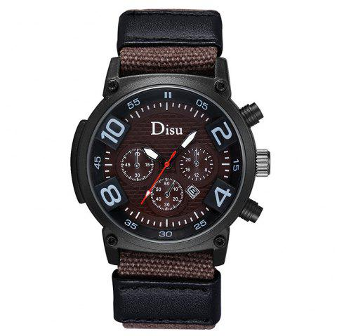 DISU Brand Large Dial Quartz Watch Male Fashion Hot Style Men Leisure Sports Calendar Quartz Watch - BROWN