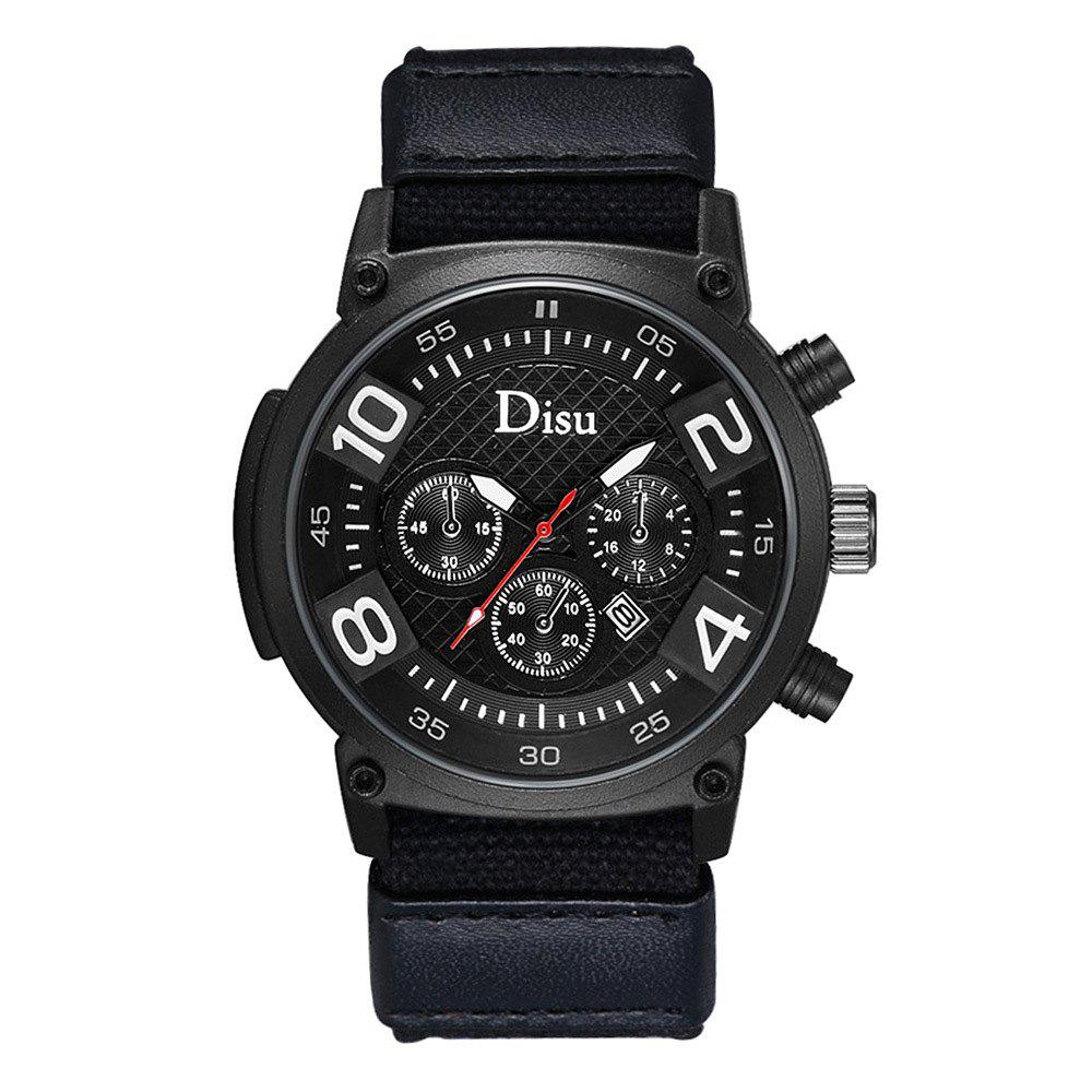 DISU Brand Large Dial Quartz Watch Male Fashion Hot Style Men Leisure Sports Calendar Quartz Watch - BLACK