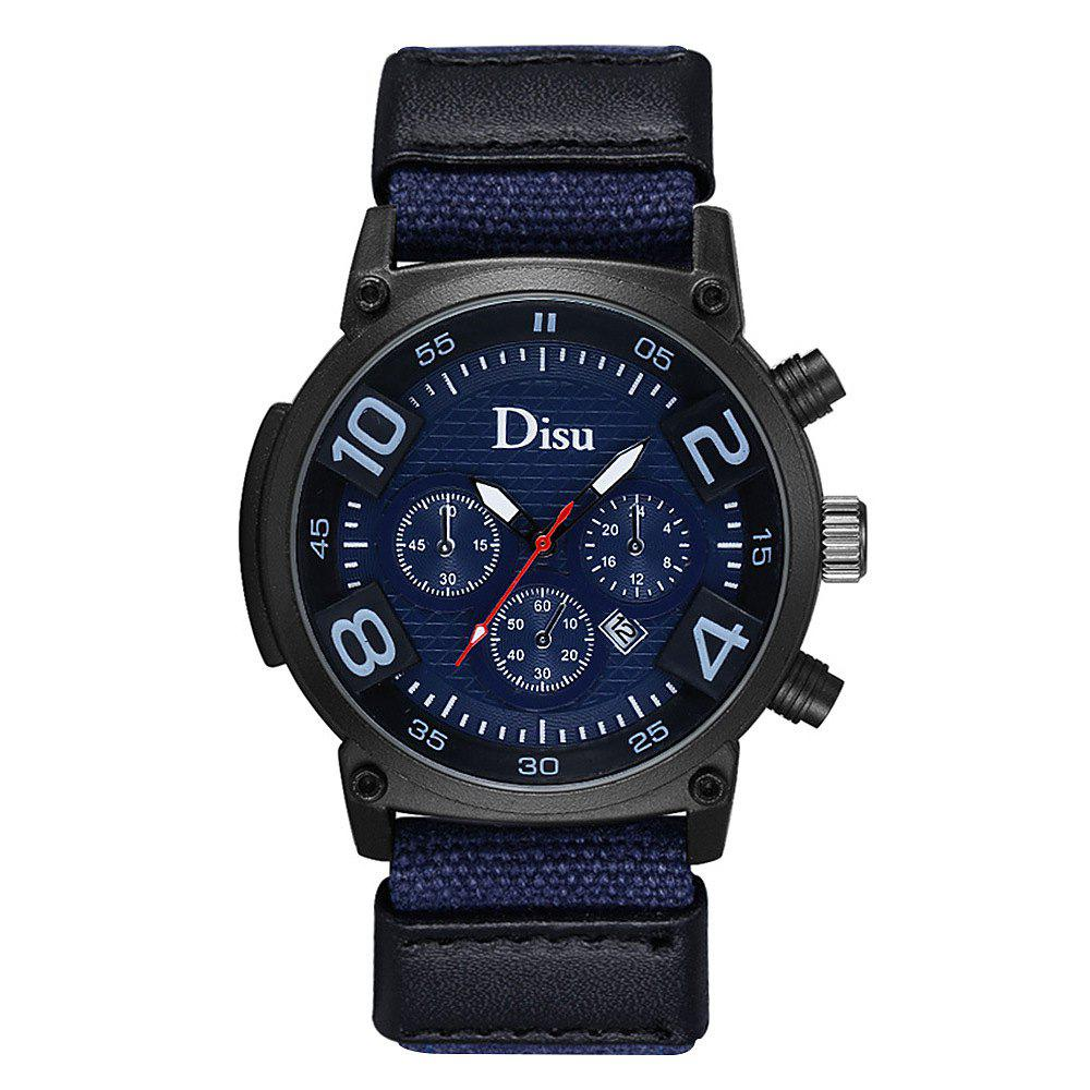 DISU Brand Large Dial Quartz Watch Male Fashion Hot Style Men Leisure Sports Calendar Quartz Watch - BLUE