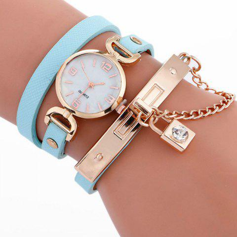 Reebonz Fashion Lady's Personality Key Pendant Students Wristwatch - AZURE