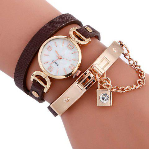 Reebonz Fashion Lady's Personality Key Pendant Students Wristwatch - BROWN