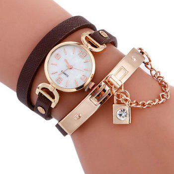 Reebonz Fashion Lady's Personality Key Pendant Students Wristwatch - BROWN BROWN