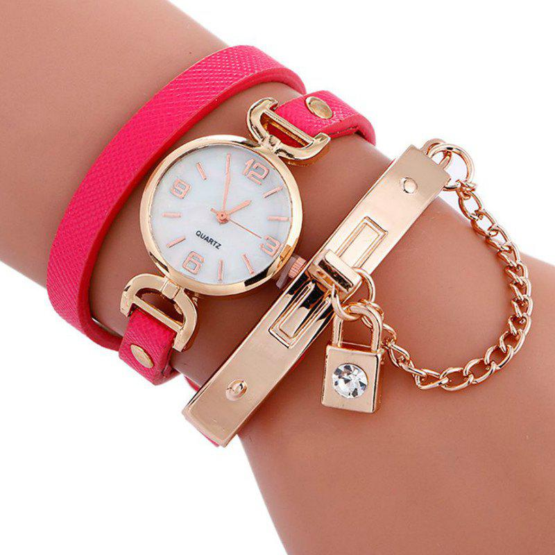 Reebonz Fashion Lady's Personality Key Pendant Students Wristwatch - ROSE RED