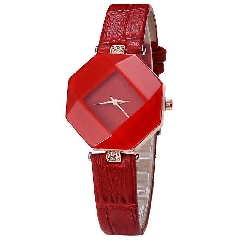Reebonz New Fashion Lady Diamond Quartz Watch - RED