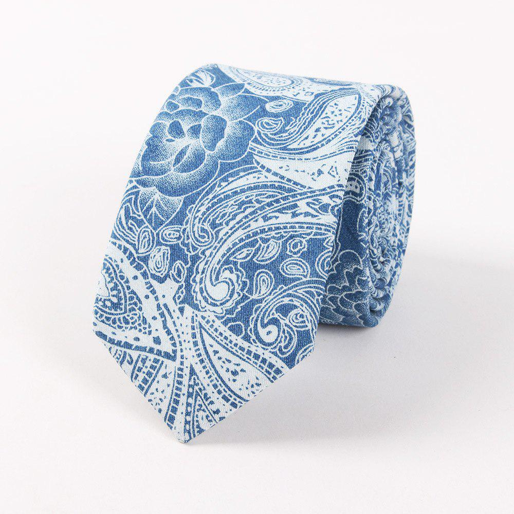 Casual Denim Printing Men'S Tie - LIGHT BULE