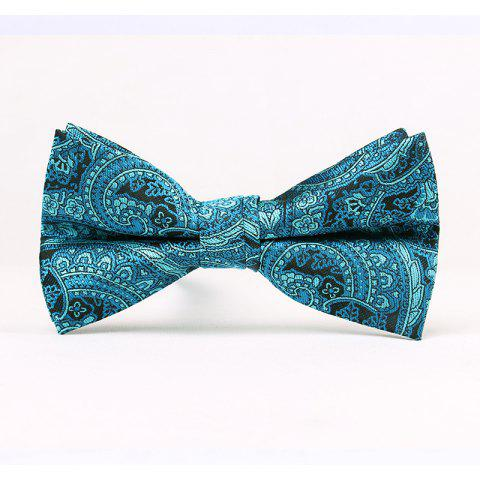 Men'S Classic Paisley Polyester Jacquard Bow - BLUE