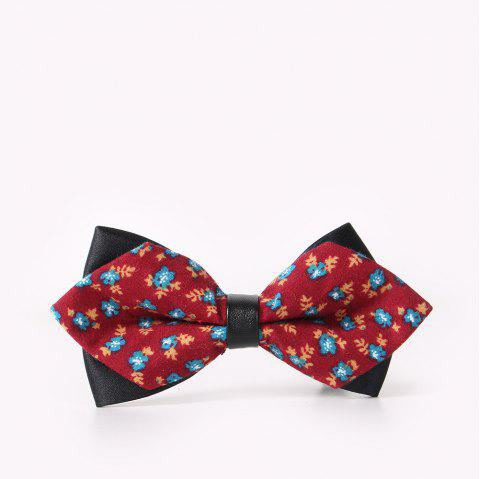 Men'S Leisure Floral Print Bow - RED