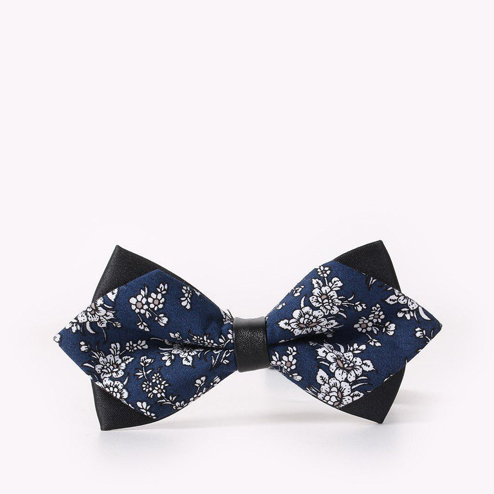 Men'S Leisure Floral Print Bow - CERULEAN