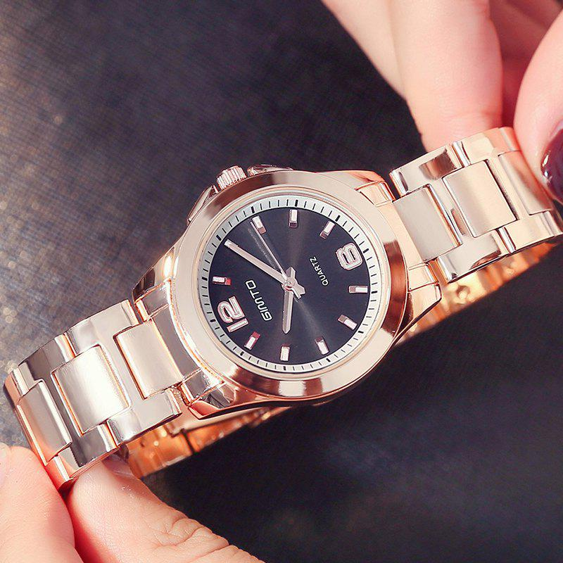 GIMTO Rose Gold Dress Women Watches Steel Clock Ladies Quartz Watch Luxury Brand Lovers Female Wristwatch Relogio - ROSE GOLD BAND BLACK DIAL