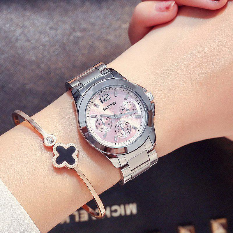 GIMTO Luxury Quartz Women Watches Full Steel Rose Gold Bracelet Ladies Watch Brand Female Waterproof Clock Relogio - SILVER / PINK
