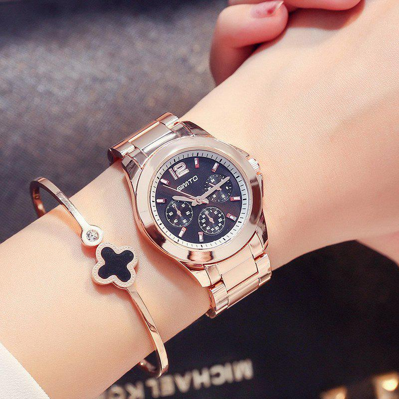 GIMTO Luxury Quartz Women Watches Full Steel Rose Gold Bracelet Ladies Watch Brand Female Waterproof Clock Relogio - ROSE GOLD BAND BLACK DIAL