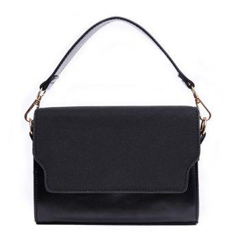Retro Wide Shoulder Strap Trendy Messenger Small Square Package - BLACK BLACK