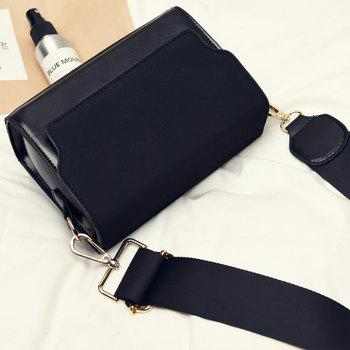 Retro Wide Shoulder Strap Trendy Messenger Small Square Package -  BLACK