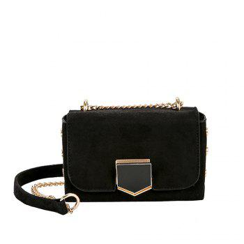 Velvet Chain Wild Shoulder Small Square Package - BLACK BLACK
