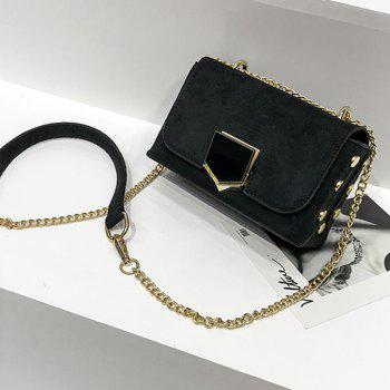 Velvet Chain Wild Shoulder Small Square Package -  BLACK