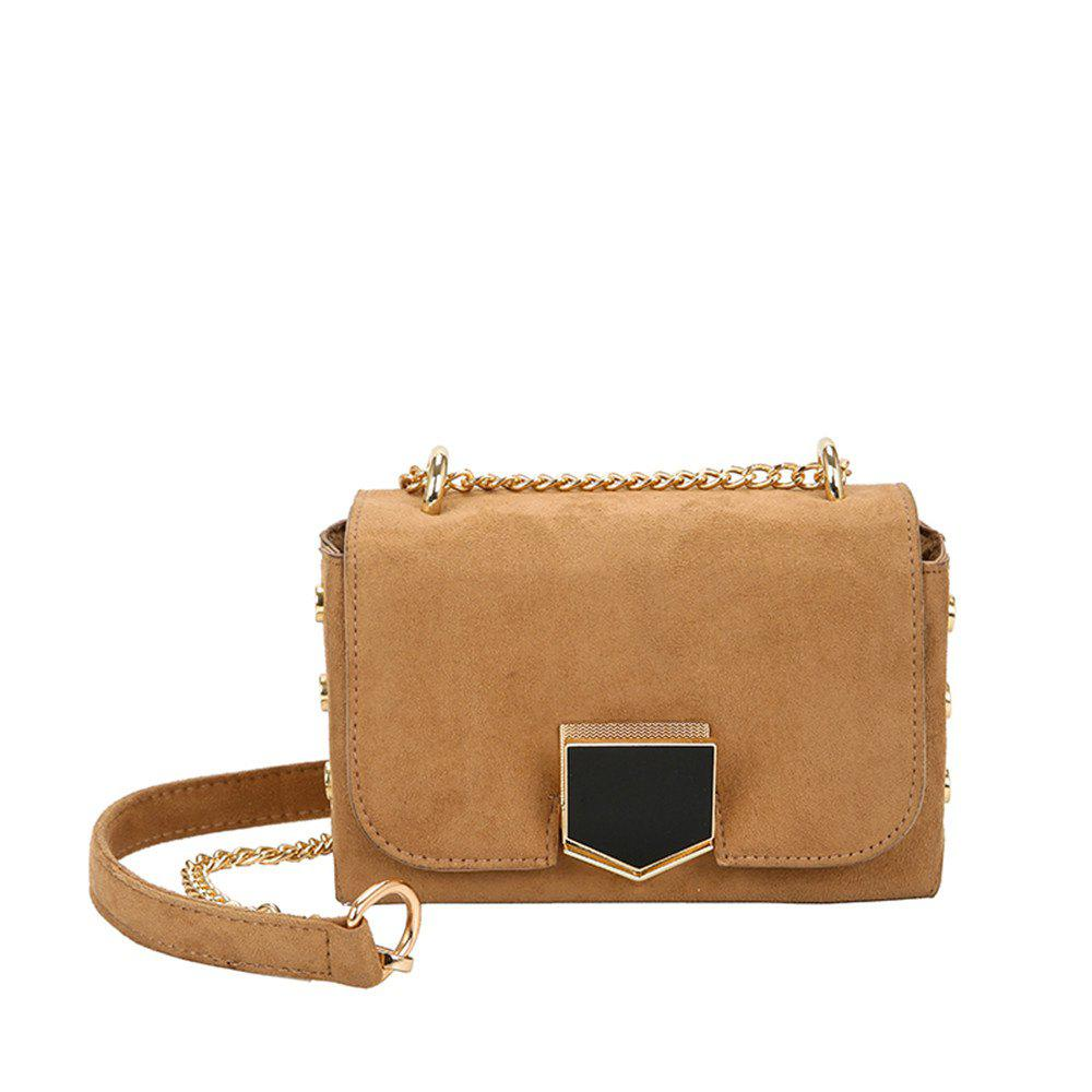 Velvet Chain Wild Shoulder Small Square Package - BROWN