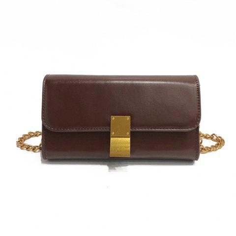 Fashion Messenger Female Mini Chain Small Square Package - DEEP BROWN