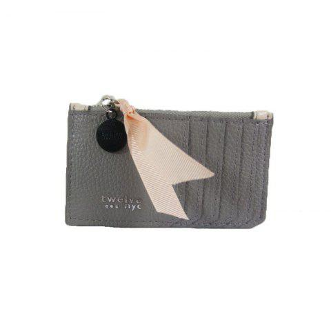 PU Portative Card PU Wallet - PINK/GRAY L12.7CM*H7.6CM