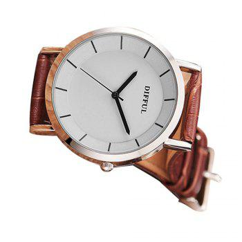 DIFFUL Simple Couple Watches Leather Band - BROWN MALE