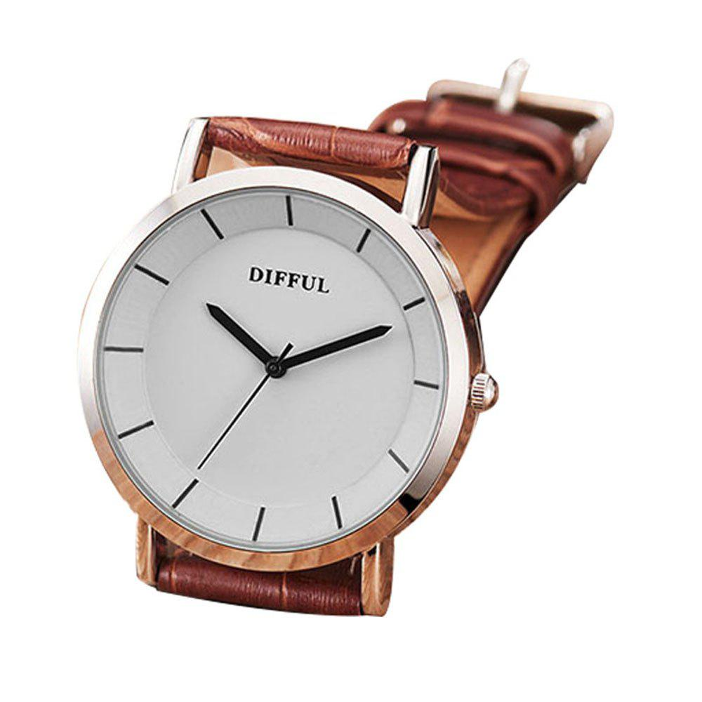 DIFFUL Montre de Couple Simple avec Bracelet en Cuir - Brun MALE