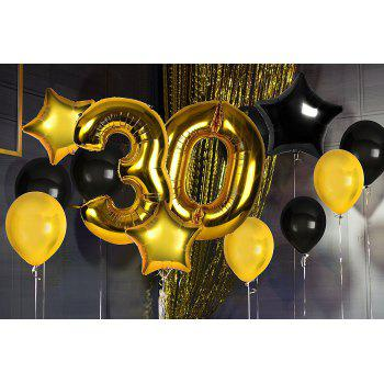 30th Birthday Decorations Happy Bday Banner Party Kit Pack B-day Celebration Supplies with Gold and Black Stars Balloons + Extra Large Golden Fringe Curtain for Men or Women - BLACK / GOLD 40TH