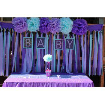 Tissue Paper Pom Pom Paper Tassel Garland First Birthday Decorations Purple Bridal Shower Decorations Mermaid /Sea Theme Party Decor - PURPLE 25PCS