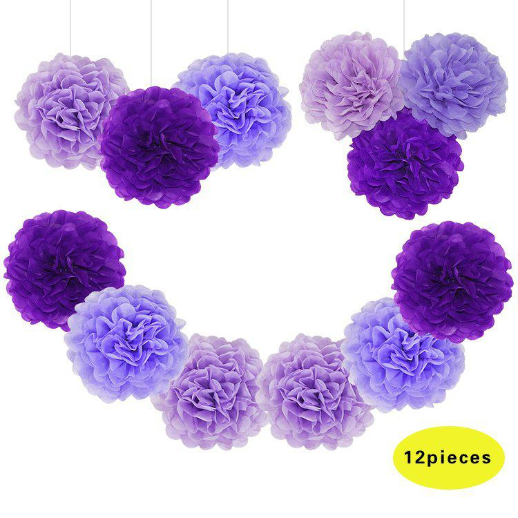12pcs/set Romantic Purple Wedding Decoration Paper Pom Pom Tissue Flowers Birthday Party Supplies Christmas Ornament - PURPLE 12PCS