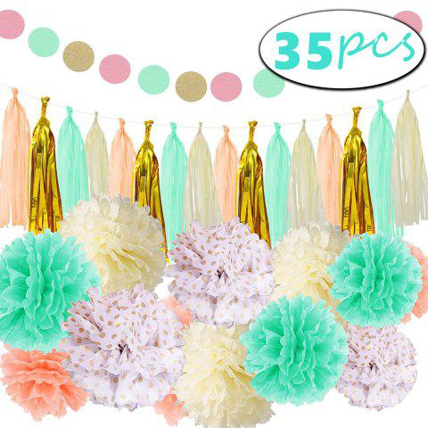 35 Pcs Mint Gold Tissue Paper Pom Poms Tassel Garland for Baby Shower Party Decorations - multicolorCOLOR 35PCS