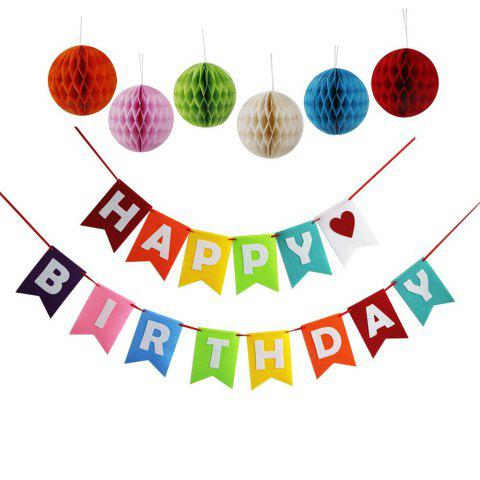 Happy Birthday Decoration Banner with Colorful Tissue Pom Pom Ball for Kids Birthday Party Decor - multicolorCOLOR 1 SET