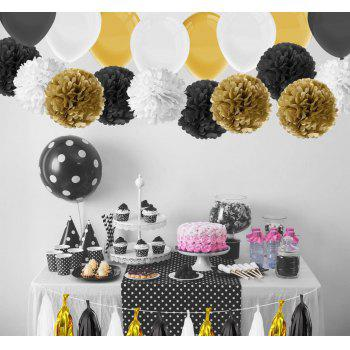 86 Pcs Black and Gold Tissue Paper Pom Poms Tassel Garland and Balloons for Birthday Party Decorations - BLACK / GOLD 86PCS