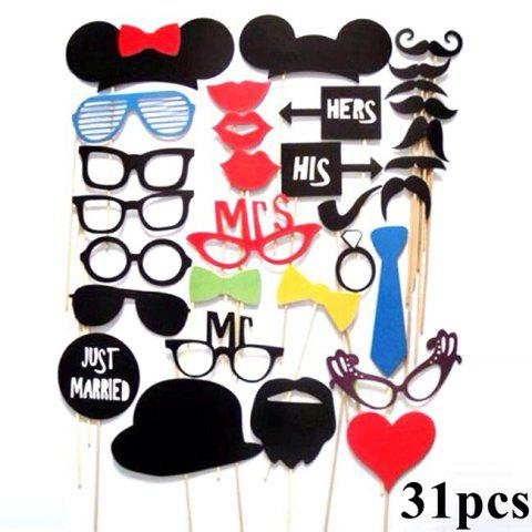 DIY Mask Photo Booth Props Set Funny Mustache Beards Red Lips Costume Fun Pictures Wedding Birthday Party Christmas - multicolorCOLOR 58PCS