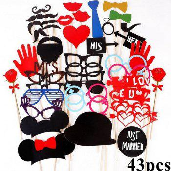 DIY Masque Photo Booth Props Ensemble Drôle Moustache Barbes Lèvres Rouge Costume Fun Photos De Mariage Fête D'anniversaire De Noël - multicolorcouleur 43PCS