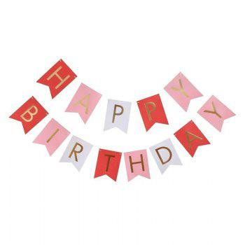 Happy Birthday Paper Flags Letter Paper Banners Garland for Birthday Party Supplies and Hanging Decoration (13pcs/pack) - WHITE