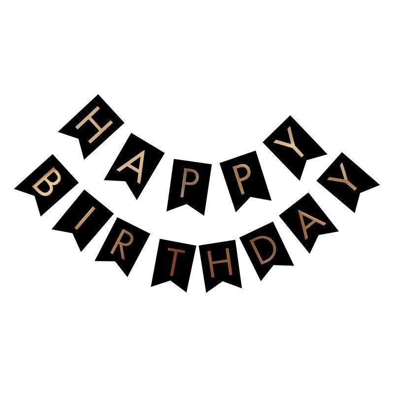 Happy Birthday Paper Flags Letter Paper Banners Garland for Birthday Party Supplies and Hanging Decoration (13pcs/pack) - BLACK