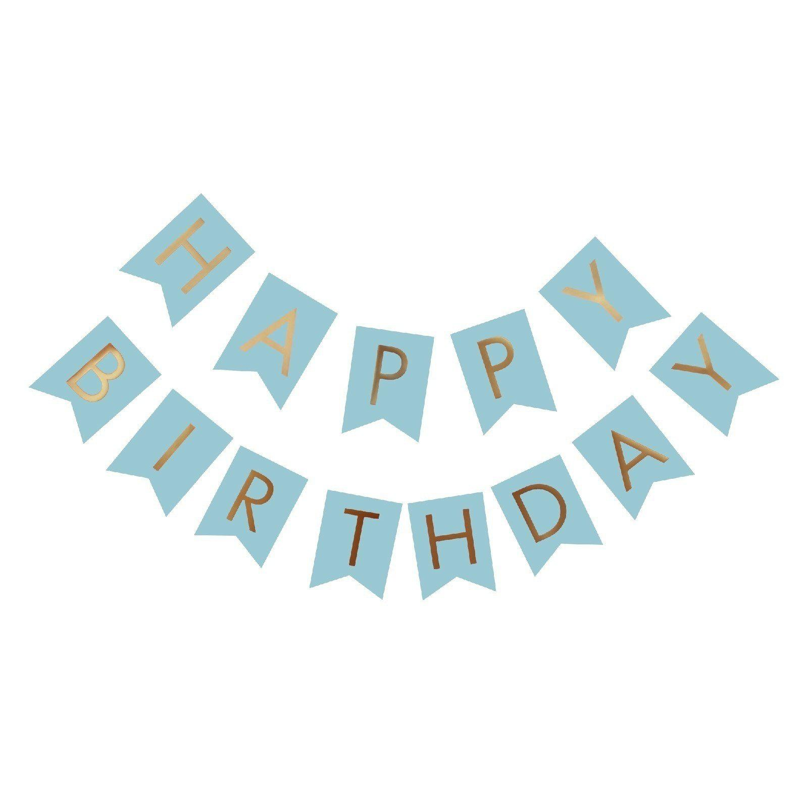 Happy Birthday Paper Flags Letter Paper Banners Garland for Birthday Party Supplies and Hanging Decoration (13pcs/pack) - BLUE