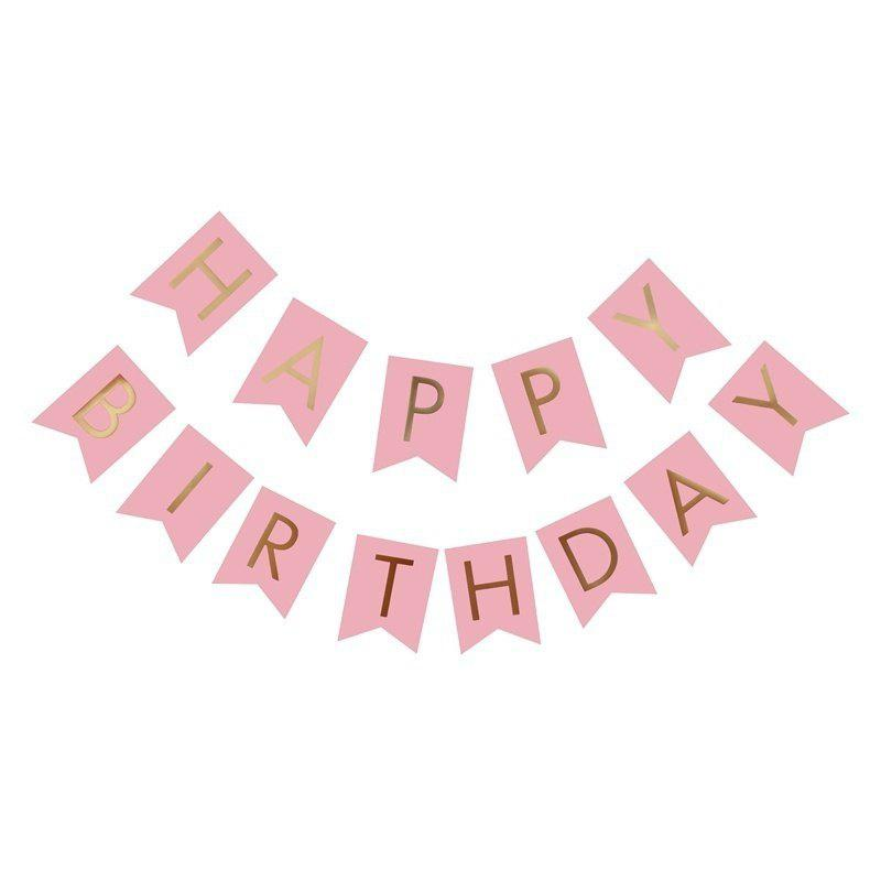 Happy Birthday Paper Flags Letter Paper Banners Garland for Birthday Party Supplies and Hanging Decoration (13pcs/pack) - PINK