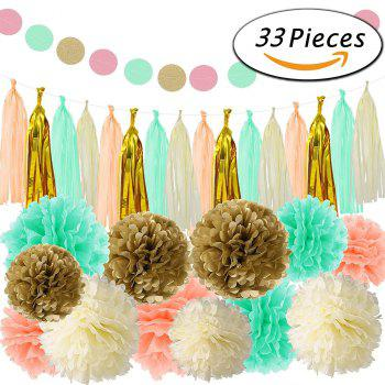 33Pcs Tissue Paper Pom Poms Paper Flowers Tassel Garland for Baby Shower Birthday Party Home Decorations - multicolorCOLOR 33PCS