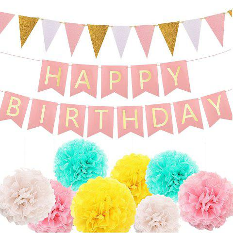 9b414f7fea065 1 Birthday Bunting Banner , 1 Pennant Banner Triangle Flag with 8 Tissue  Pom Pom Flower Ball for Party Decorations