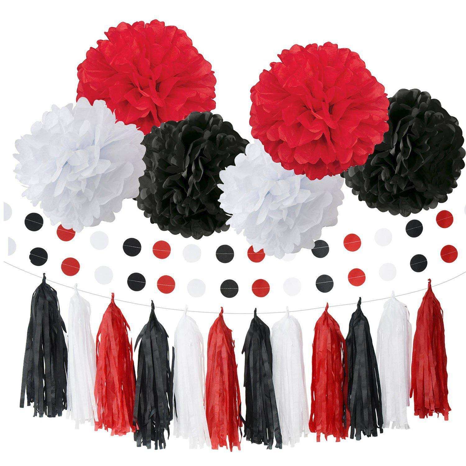 Baby Shower Decorations White Black Red Baby Ladybug Birthday Party Decoration/ First Birthday Girl Decorations Tissue Paper Pom Pom Tassel Garland Circle Paper Garland Birthday Decorations - BLACK / RED 20PCS