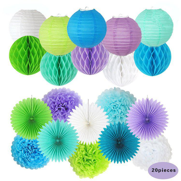 Party Paper Decorations Lavender Blue White Green Paper Pom Poms Flower Fan Honeycomb Balls Lanterns for Wedding&Engagement - multicolorCOLOR 20PCS