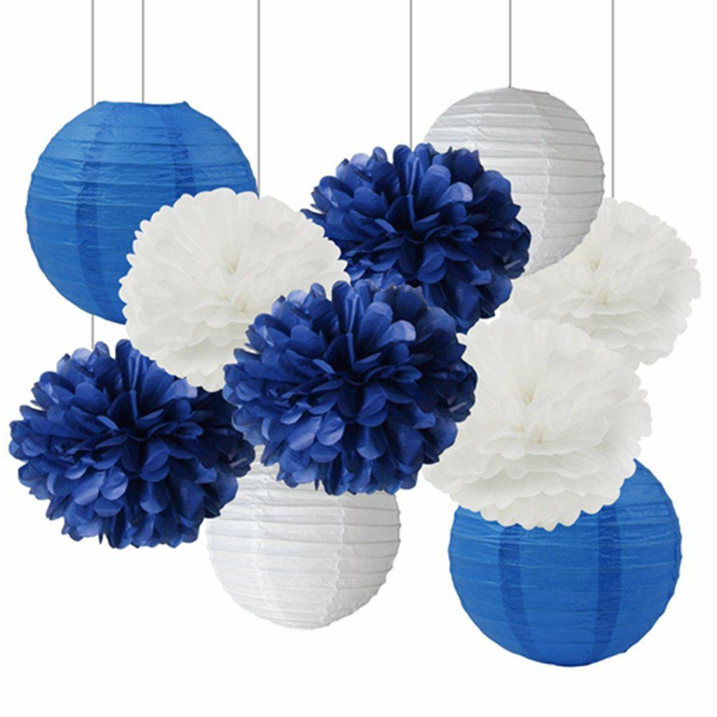 White Navy Blue 10inch Tissue Paper Pom Pom Paper Lanterns Mixed Package for Navy Blue Themed Party Wedding Paper Garland, Bridal Shower Decor Baby Shower Decoration - WHITE 10PCS
