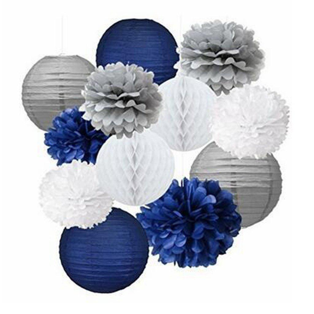 2018 12pcs Mixed Navy Blue Gray White Party Tissue Pompoms Flower ...