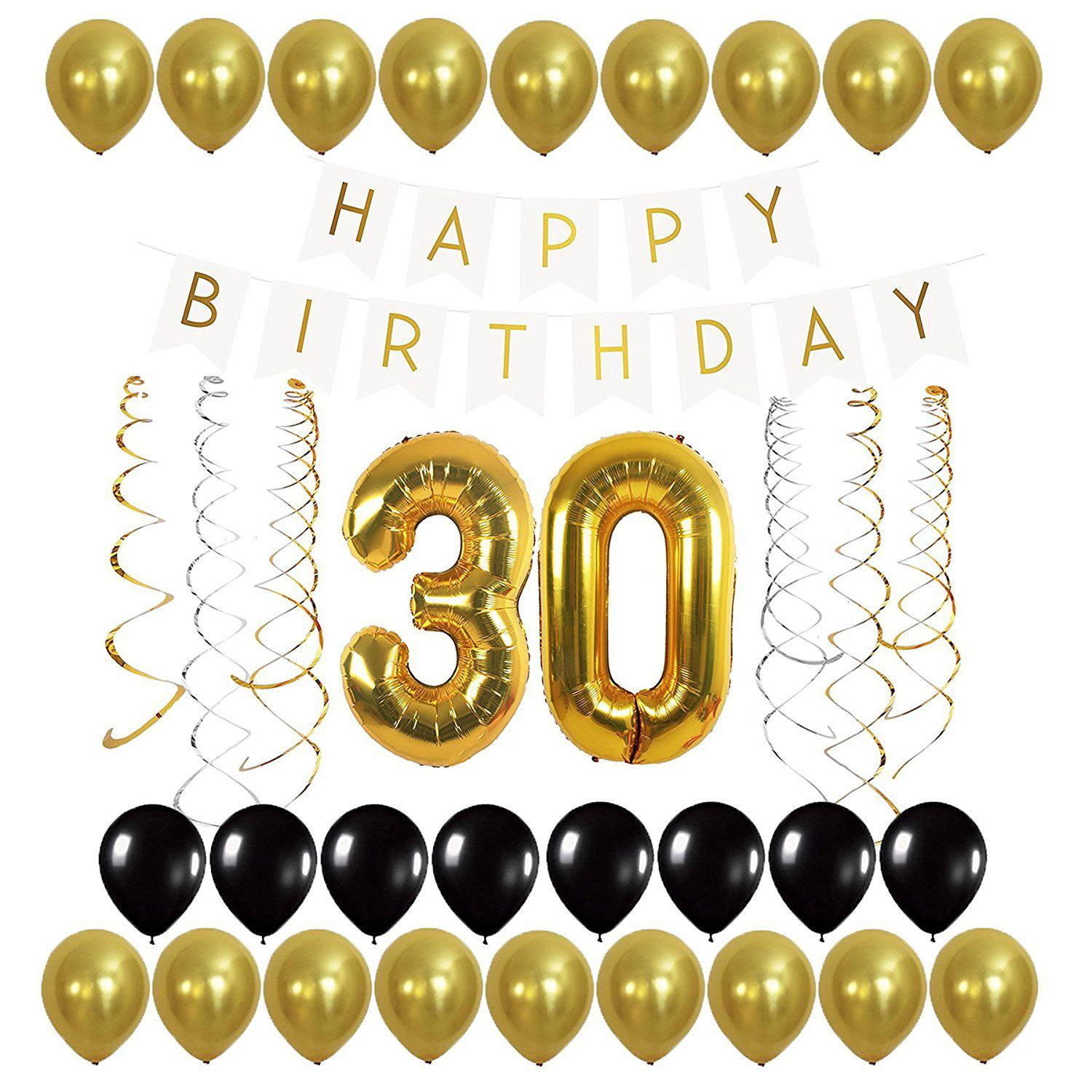 2018 Letters Happy Birthday Banner and Gold Balloons and Streamer ...