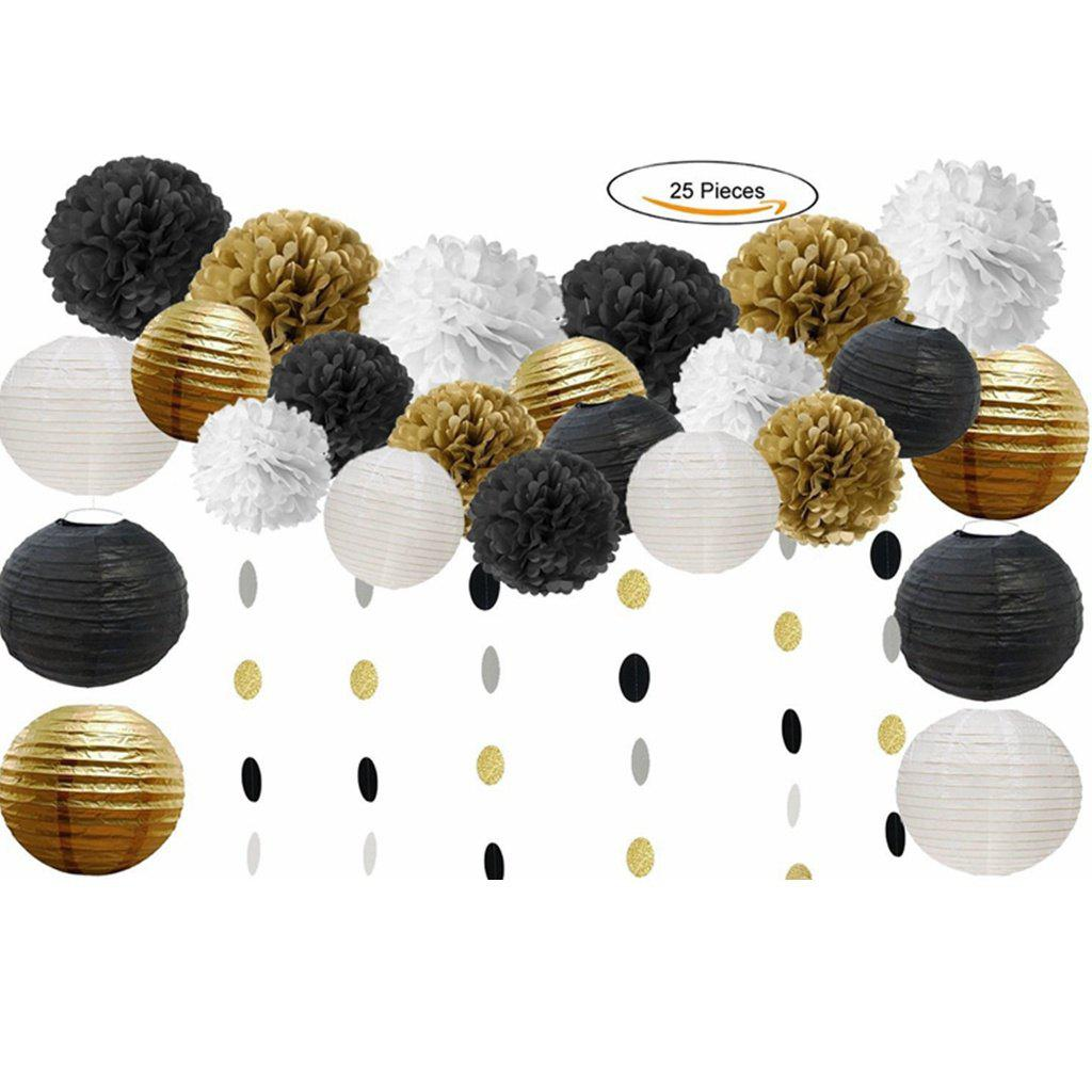 25pcs Tissue Pom Poms Paper Flowers Paper Lanterns Circle Dot Garland Hanging for Birthday Party Decoration Home Decor - BLACK / GOLD 25PCS
