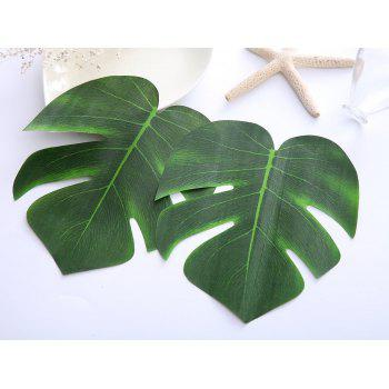 9pcs Tropical Palm Leaves 13-Inch Simulation Leaf for Hawaiian Luau Party Jungle Beach Theme Party Decorations - GREEN 9PCS